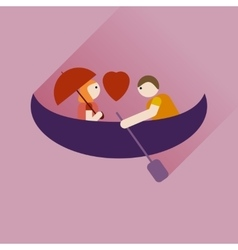 Flat icon with long shadow love male and female vector