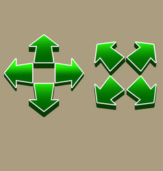 four direction green arrow vector image