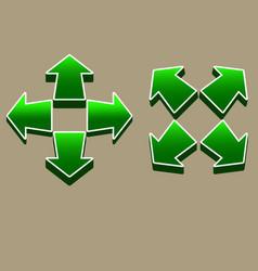 Four direction green arrow vector