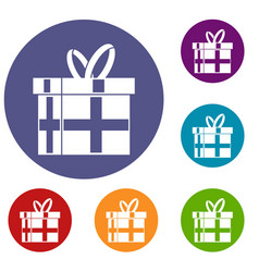 gift in a box icons set vector image vector image