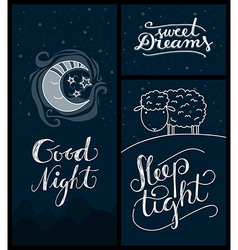 Good night sleep tight sweet dreams banners vector