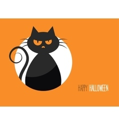 Halloween card with a silhouette of an evil cat in vector