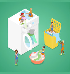 Isometric people washing clothes laundry service vector