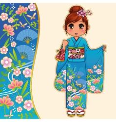 kimono girl vector image vector image