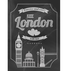 Love london chalkboard retro poster vector