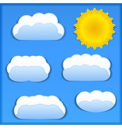 Paper Sun and Clouds vector image
