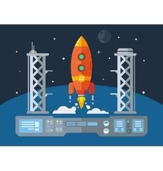 Rocket startup flat desing concept vector