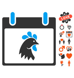 Rooster head calendar day icon with valentine vector