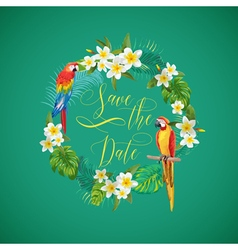 Save the Date Tropical Flowers Card vector image vector image