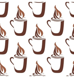 Seamless pattern of a mug of steaming hot coffee vector