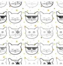 Seamless pattern with cute cats animal and gold vector