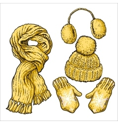 Set of yellow knotted scarf hat ear muffs and vector