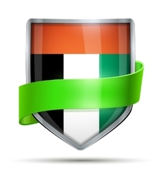 Shield with flag UAE and ribbon vector image