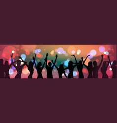 silhouette people dancing over holiday firework vector image