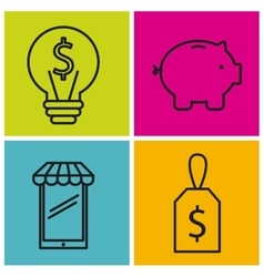 Smartphone label bulb piggy icon graphic vector image vector image
