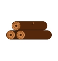 Stack of nine wooden logs firewood lumber tree cut vector