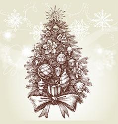 vintage style christmas tree vector image