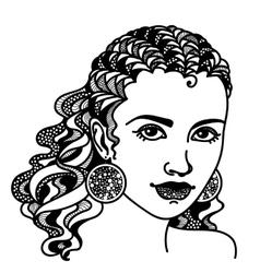 Zentangle stylized girl vector image vector image