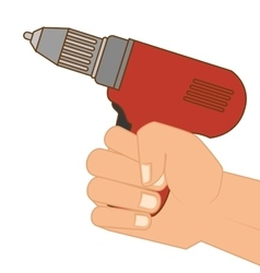 Hand holding a drill vector