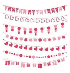 Set of garlands buntings for valentines day vector
