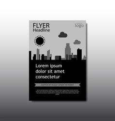 Abstract grey and black cityscape flyer vector