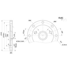 Expanded bearing sketch with angle degree vector
