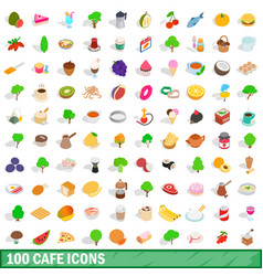 100 cafe icons set isometric 3d style vector