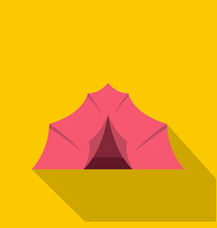 Pink tent for camping icon flat style vector