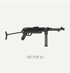 Line flat color military icon - machine gun vector