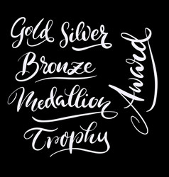 Gold and silver hand written typography vector