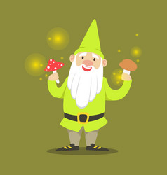 Cute smiling dwarf standing and holding mushrooms vector