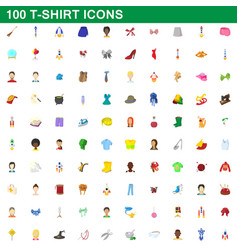 100 t-shirt icons set cartoon style vector