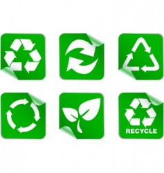 Green environment and recycle icons vector