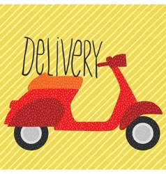 Red vintage scooter delivery vector