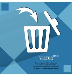 Trash bin flat modern web button on a flat vector