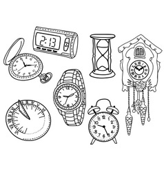 Set of clocks and watches vector image