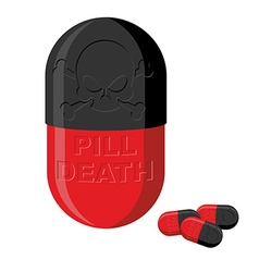 Tablet with a skull pill death medical product vector