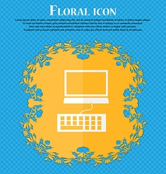 Computer monitor and keyboard icon floral flat vector