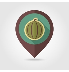 Watermelon flat mapping pin icon with long shadow vector