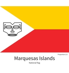 National flag of marquesas islands with correct vector