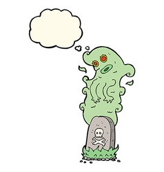 Cartoon ghost rising from grave with thought vector