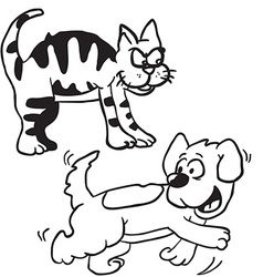 Simple black and white cat and dog vector