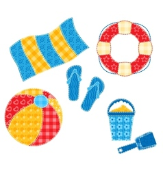 Patchwork beach set vector