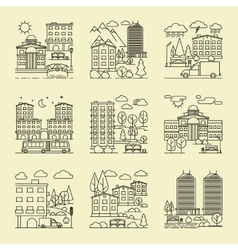 City linear style landscapes vector