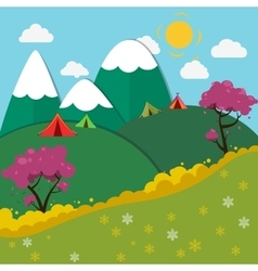 Summer mountain camping landscape vector