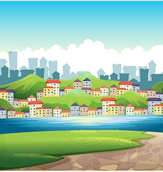 A river near the tall buildings vector