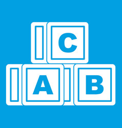 Abc cubes icon white vector