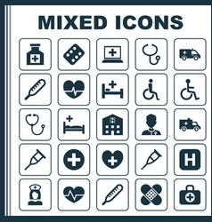 Antibiotic icons set collection of tent rhythm vector