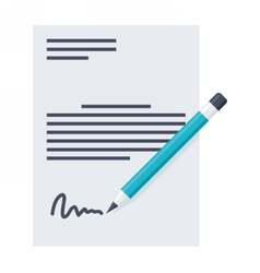 Business contract and pencil vector image
