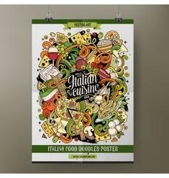 Cartoon hand drawn doodles italian food poster vector